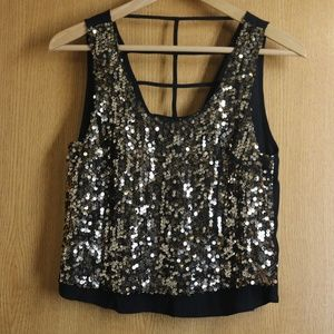 Sparkly Astr the Label Sequined Crop Top Tank  XS